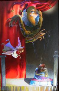 """Doll's idyll"". Canvas on cardboard, acrylic"