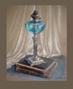 """""""Lampe ancienne"""". Papier, pastel"""