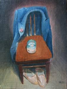 """Héritage"". Toile sur carton, huile. 1991"