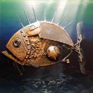 Рыбка золотая. Оргалит 50х50. Смешанная техника.2018