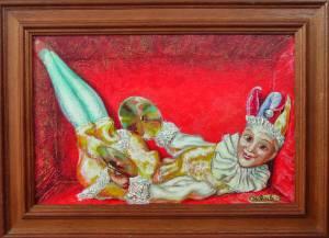 """""""Doll in a box"""". Canvas on cardboard, acrylic"""