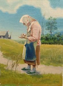 """Bringing bread"". Oil on canvas on cardboard. 1990"
