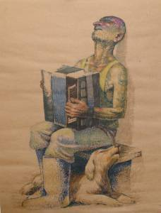 """Chant du loup de la Kolyma"". Papier kraft, feutre. 1990"